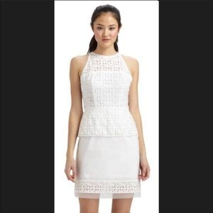 Milky White Laser Cut Peplum Cocktail Dress